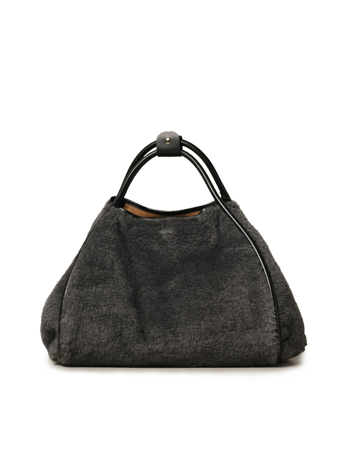 Shopping bag in fur and leather