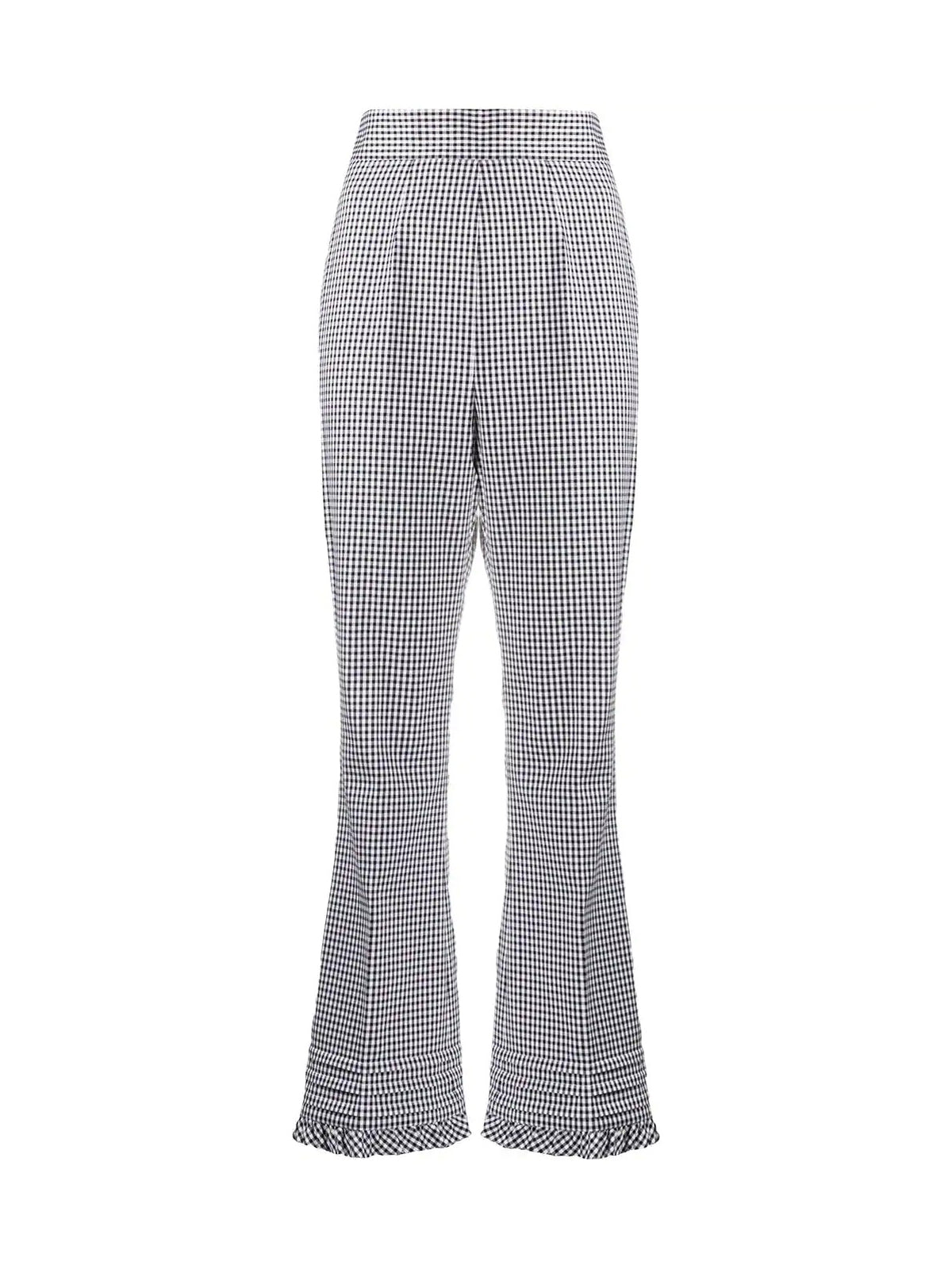 gingham-check flared trousers