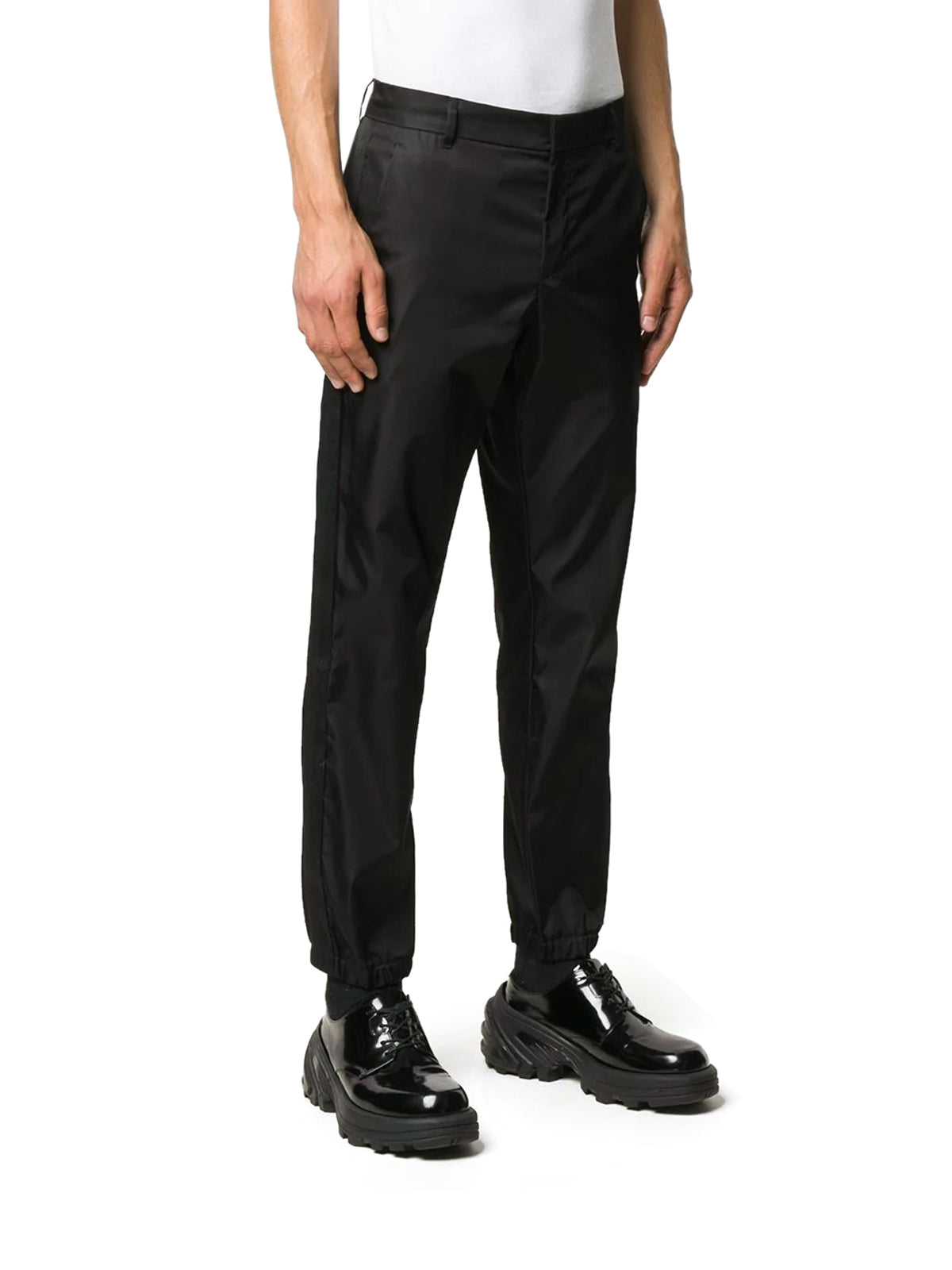 cuffed logo trousers