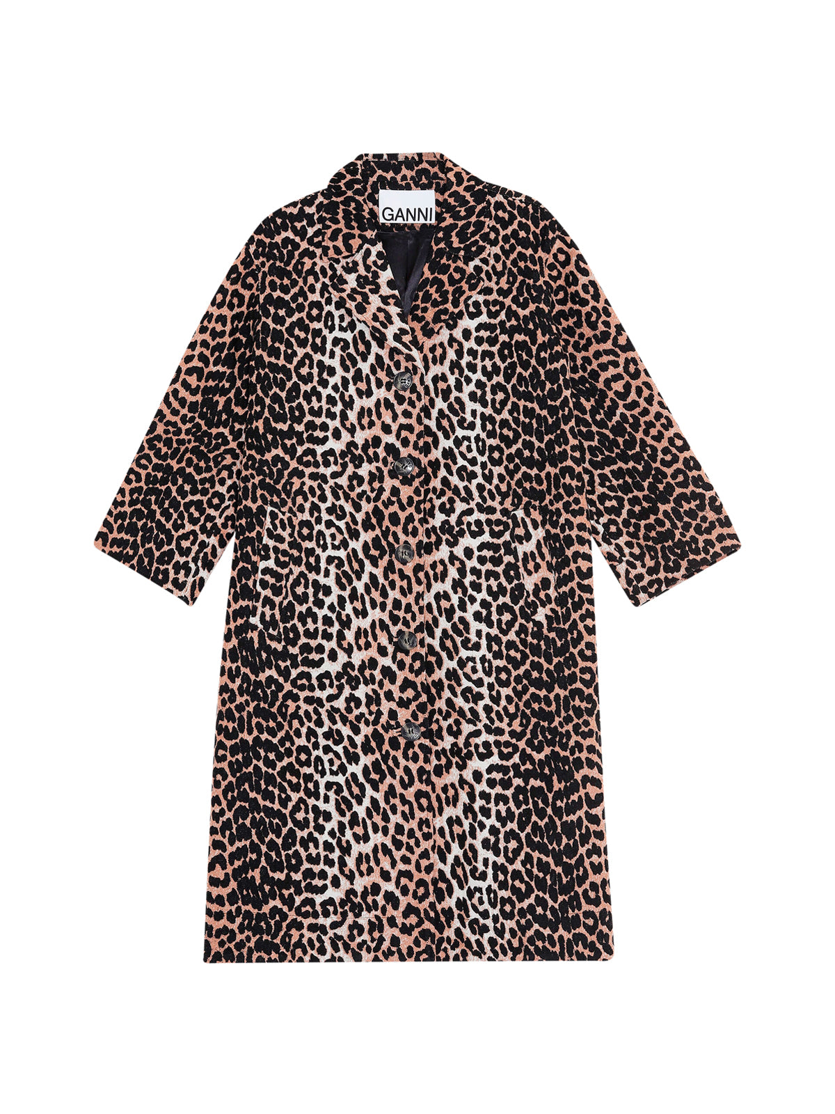 Single-breasted leopard coat
