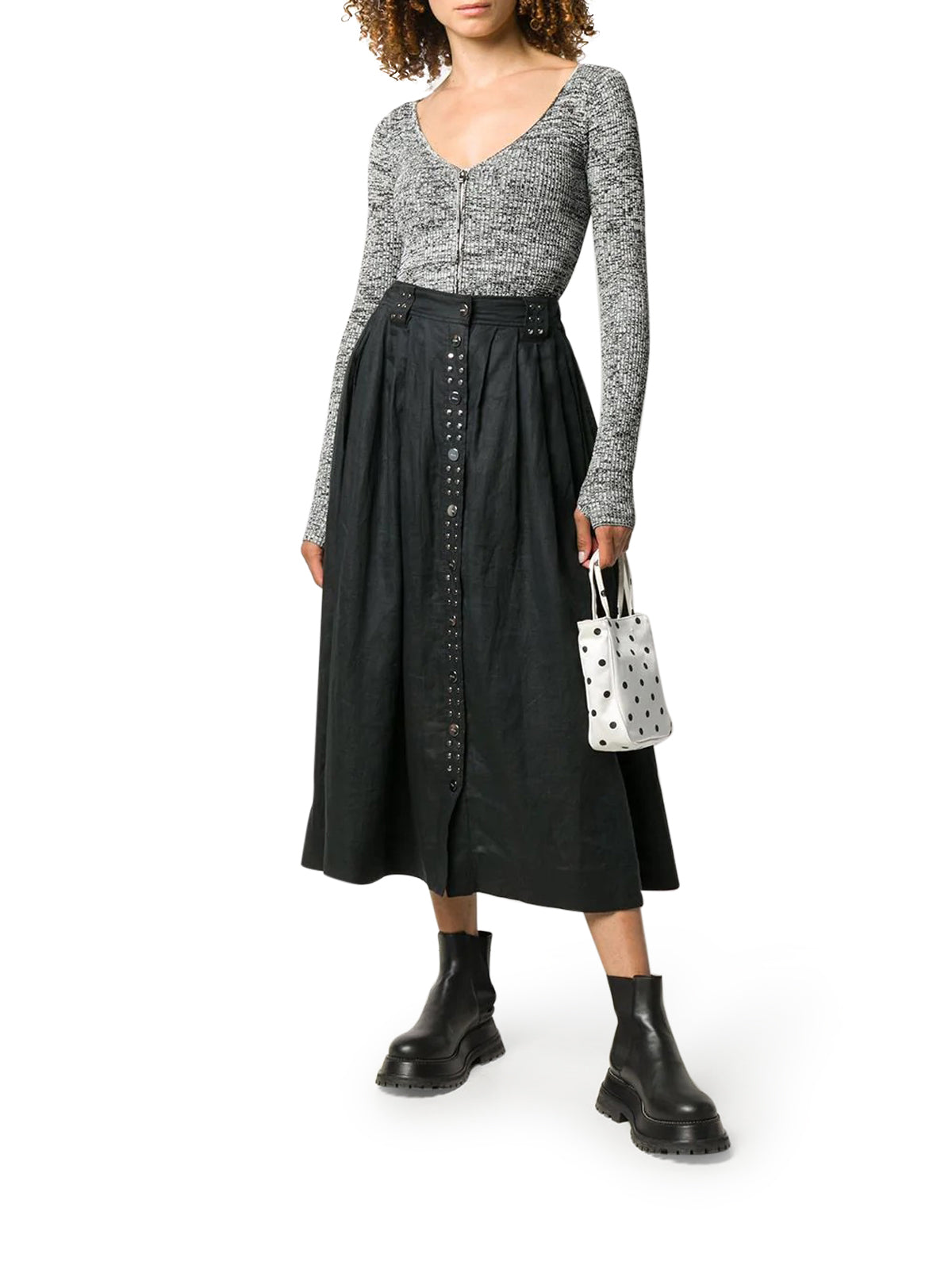Midi skirt with studs