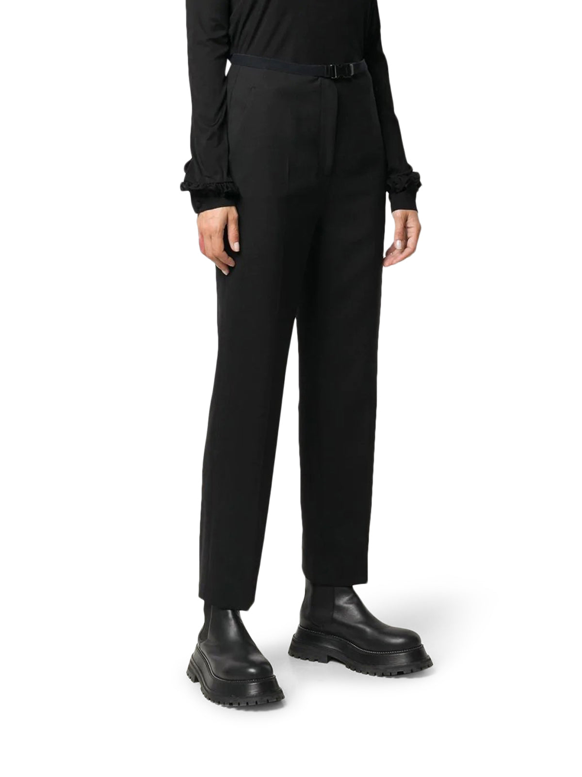 slim-fit buckled trousers