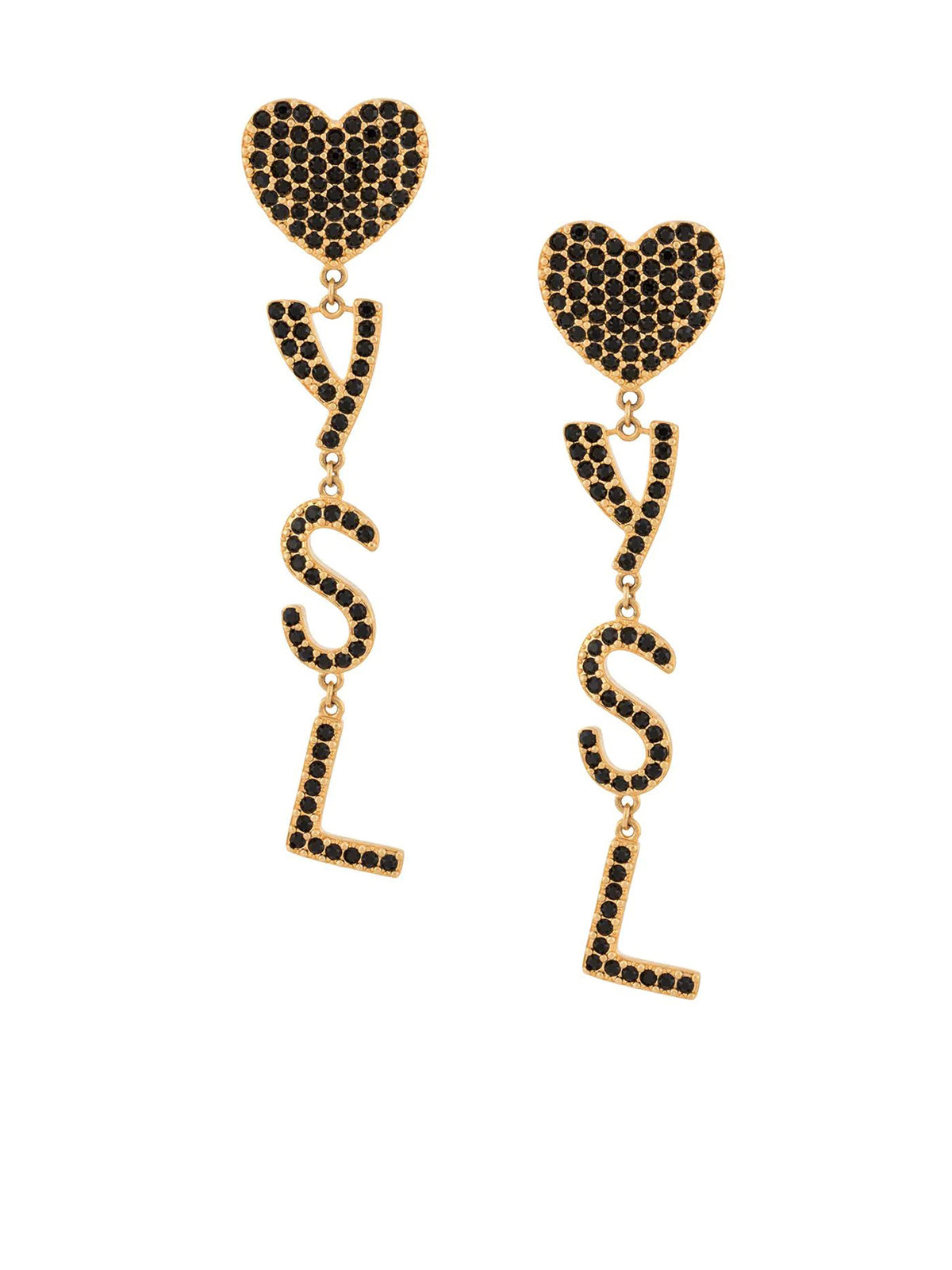 Gold-metal ysl heart earrings in brass and crystal