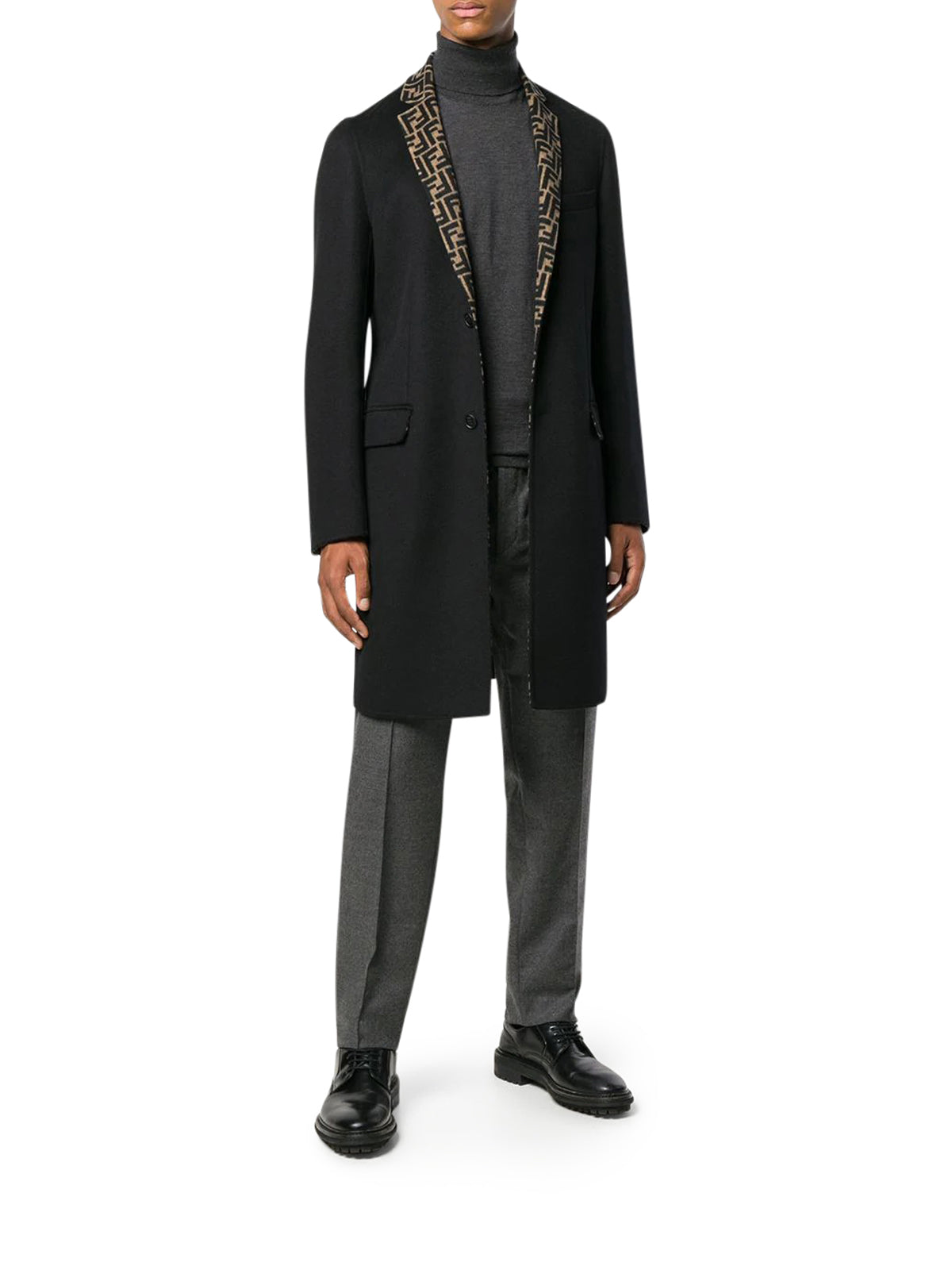 FF motif single-breasted coat