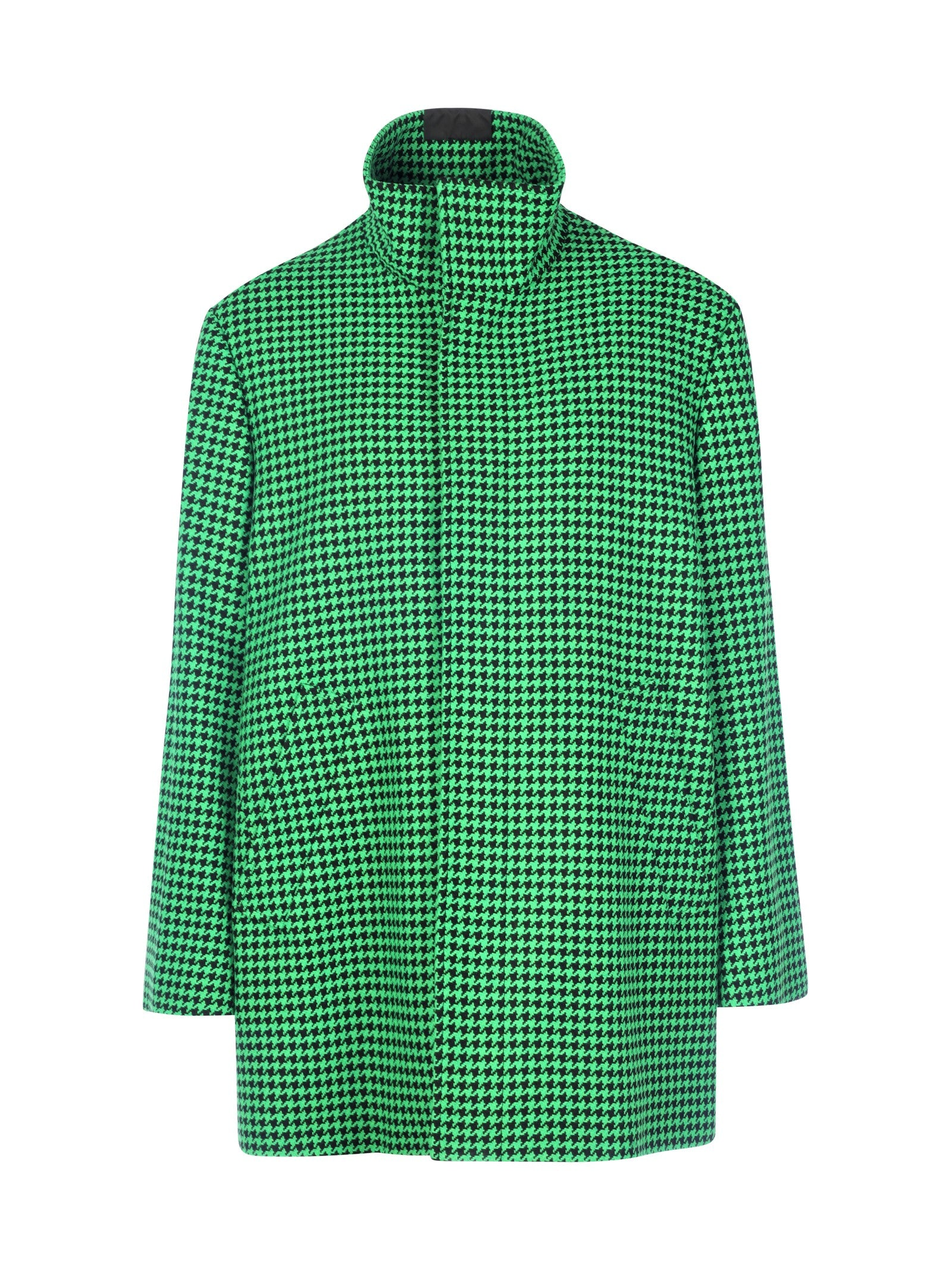 Green houndstooth a-shape coat