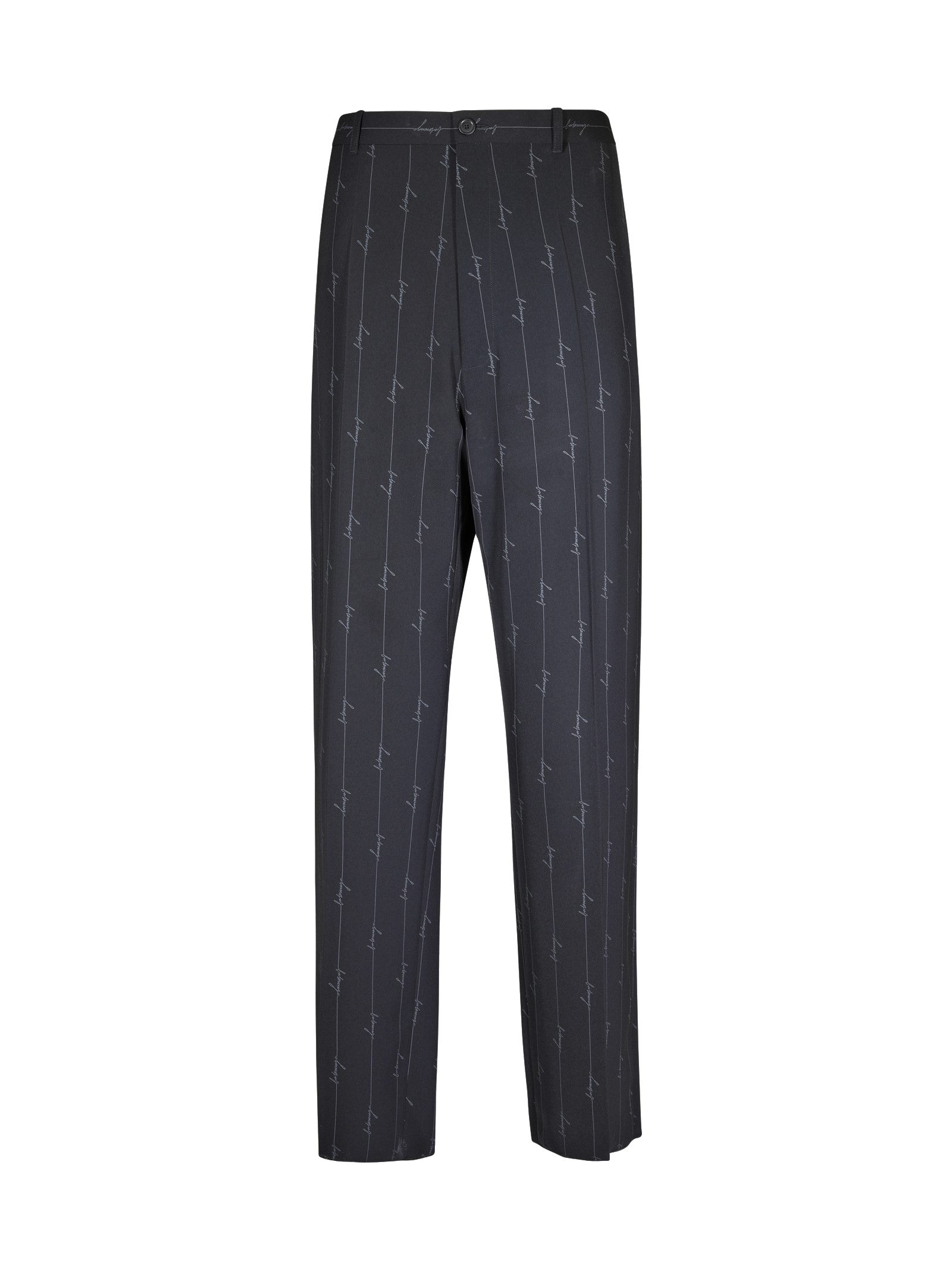 pinstriped trousers with logo