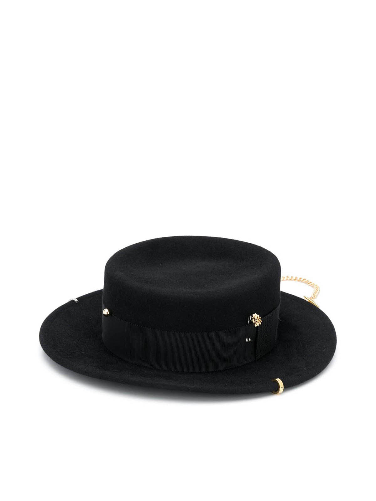 chain-trimmed hat