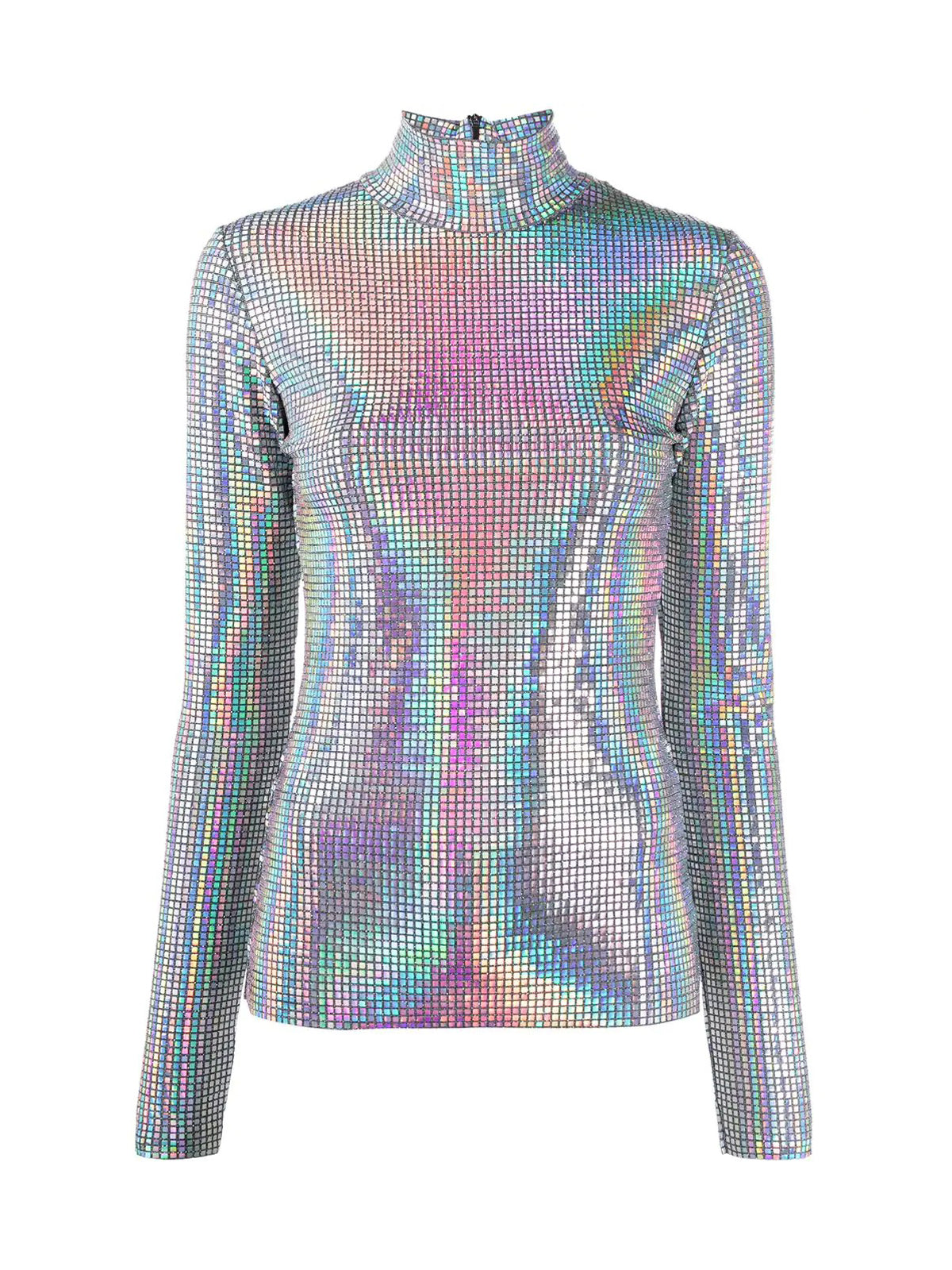 iridescent roll neck top