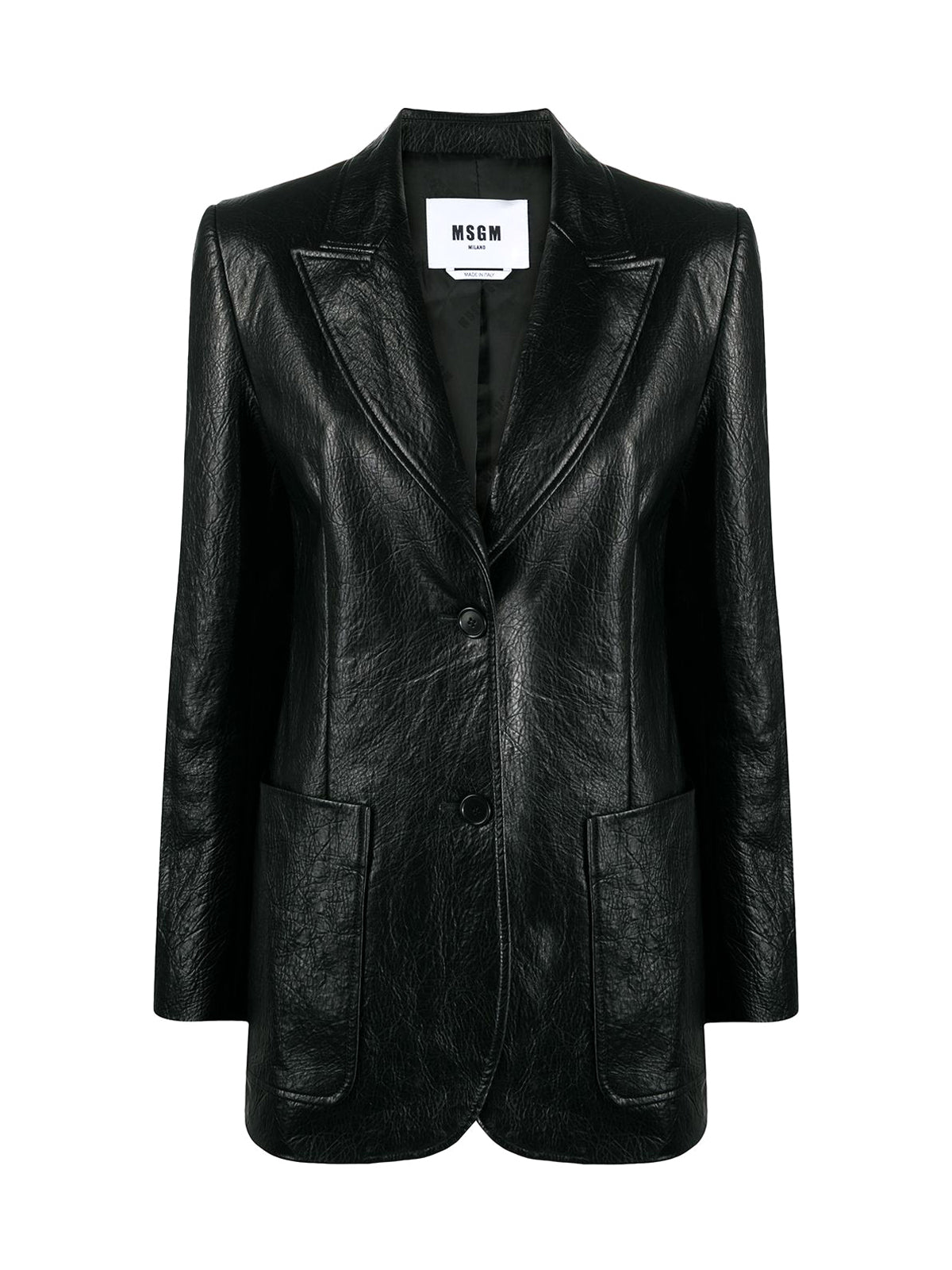 leather-effect blazer