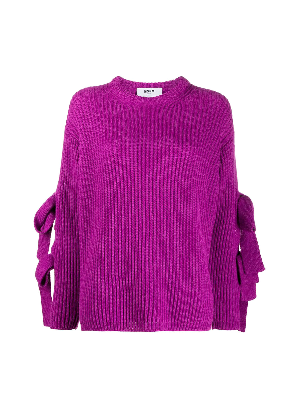 tie sleeve ribbed jumper