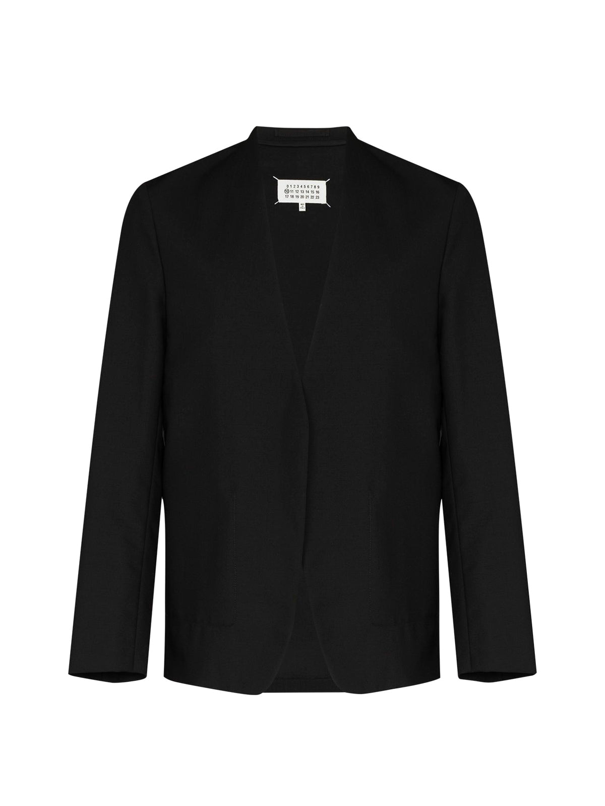 collarless single-breasted blazer