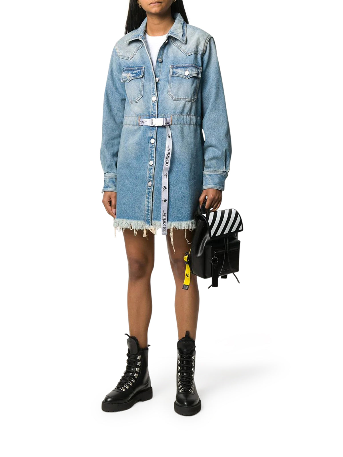 frayed Industrial belted denim dress