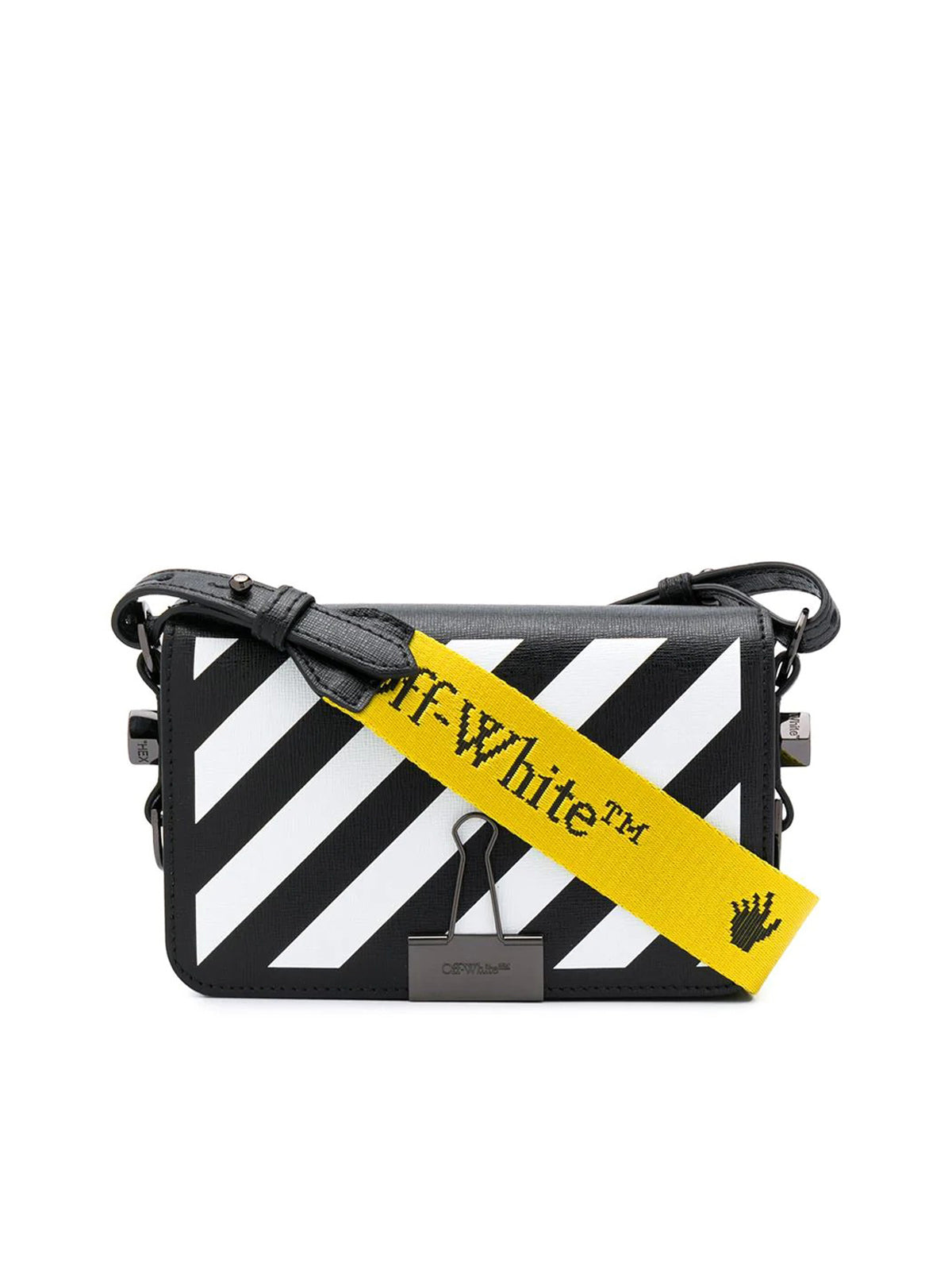 binder-clip striped crossbody bag