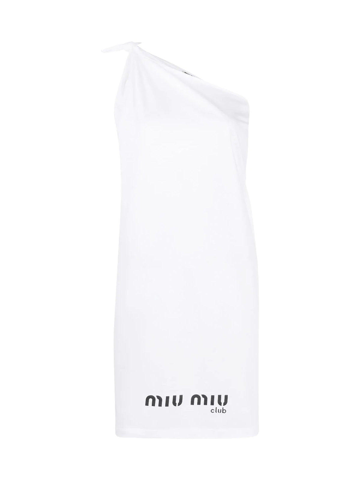 logo-print one-shoulder dress