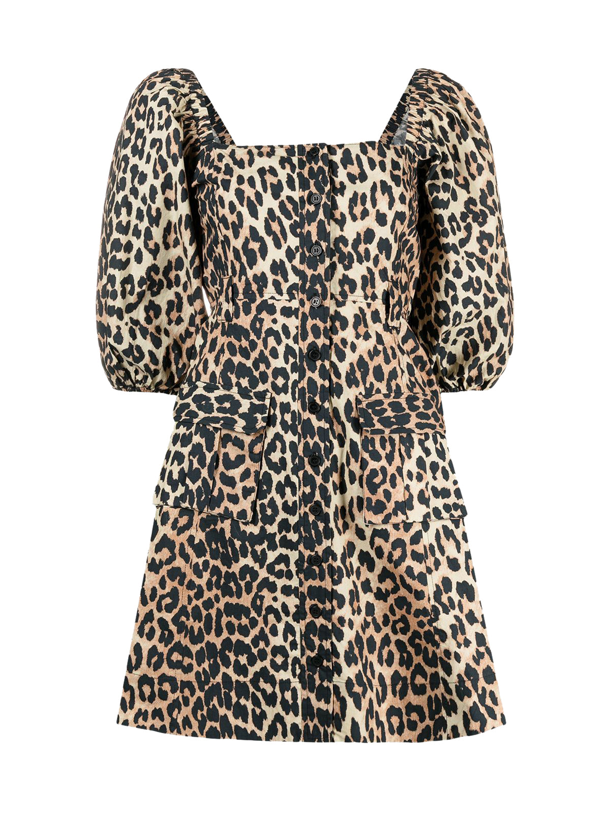 leopard-print puff-sleeve flared dress