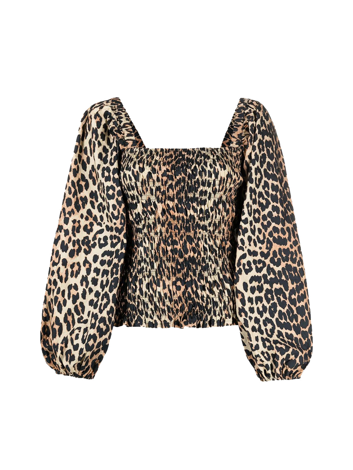 leopard-print balloon-sleeve blouse