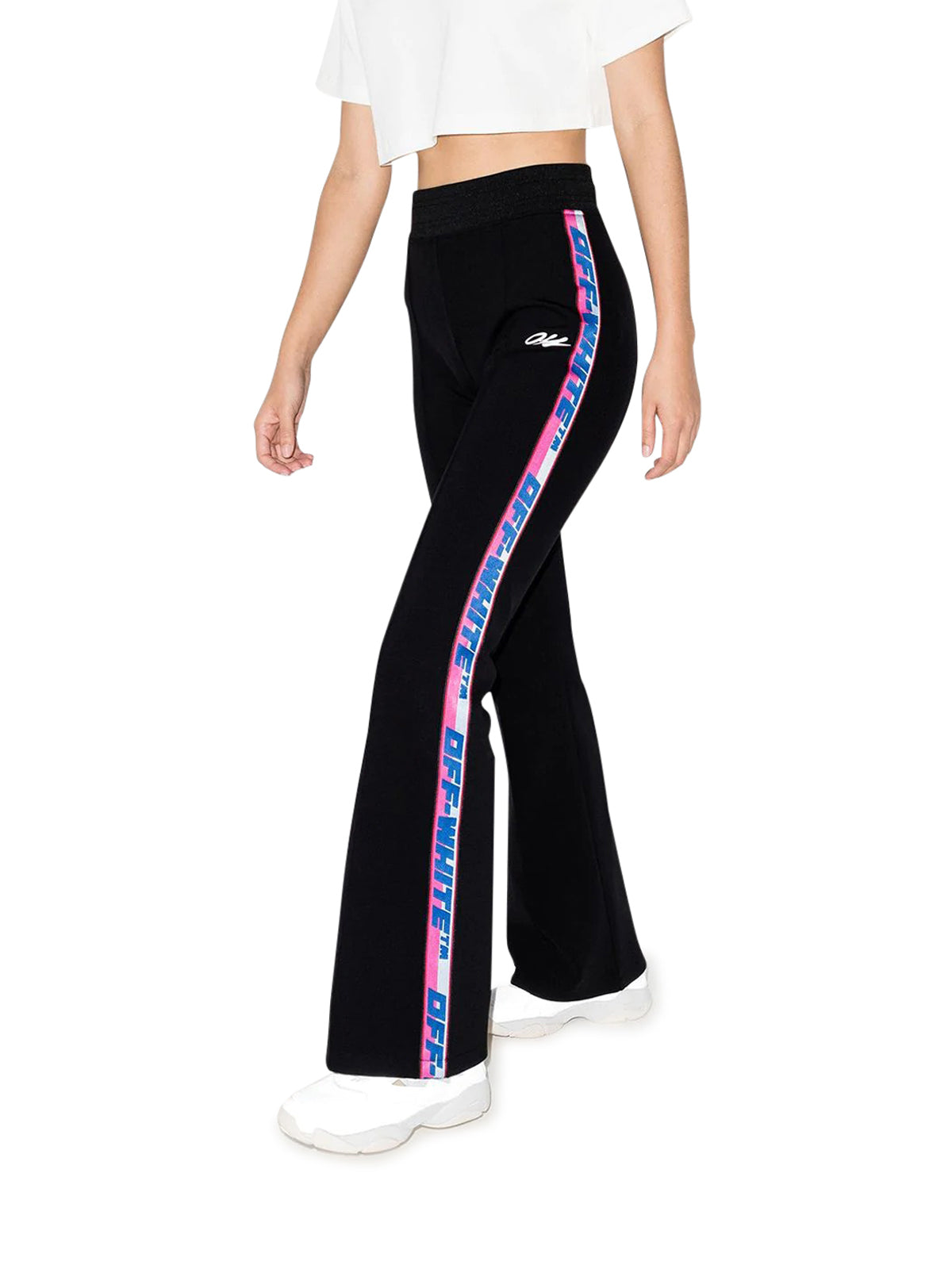 logo-tape flared track pants