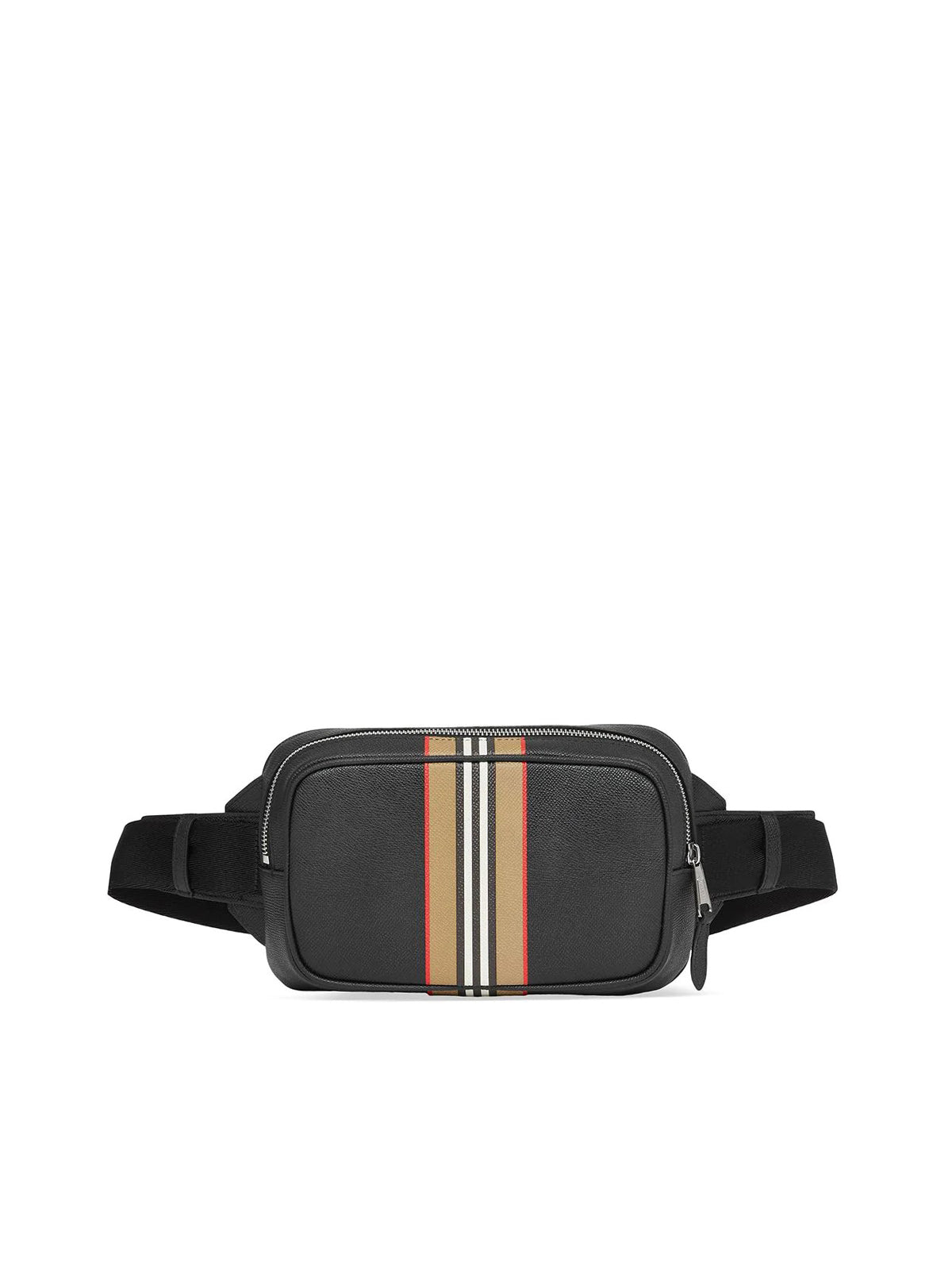 Burberry Stripe Motif Detail Leather Belt Bag In Black