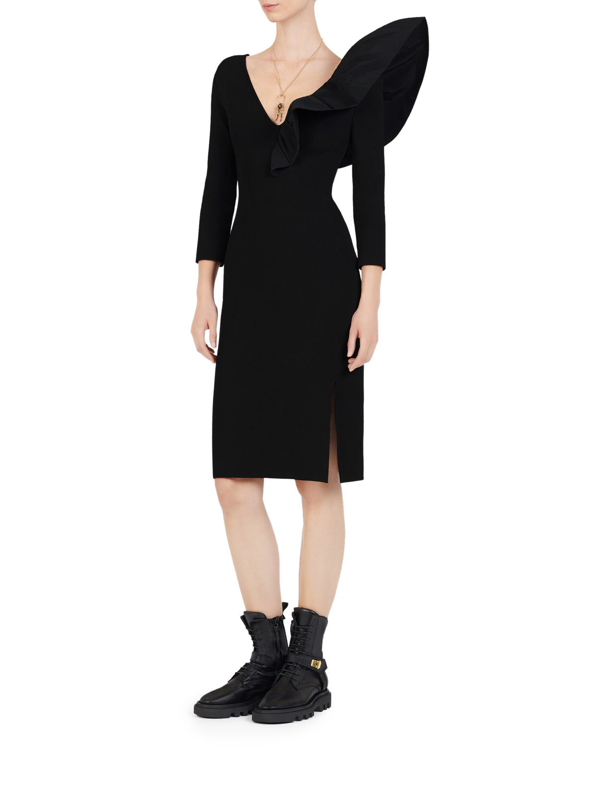 ASYMMETRICAL AJUSTED DRESS WITH FRILL