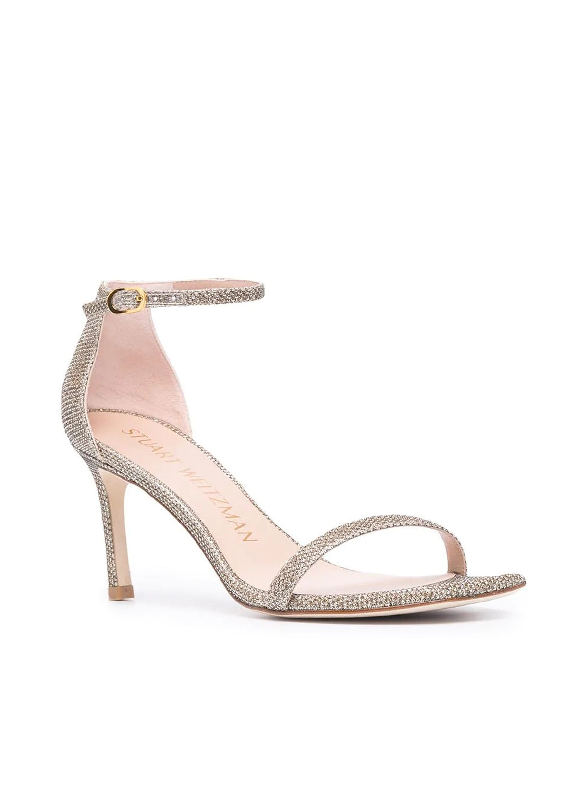 glitter-effect square-toe sandals