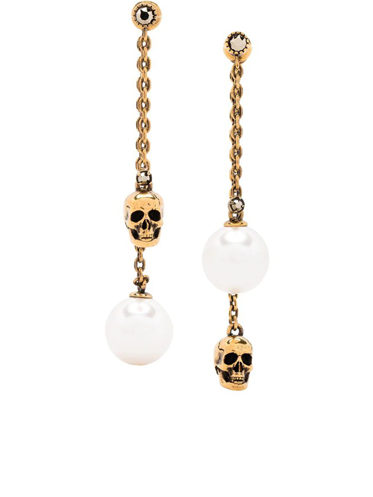 Pearl-embellished Skull Pendant Earrings In Gold