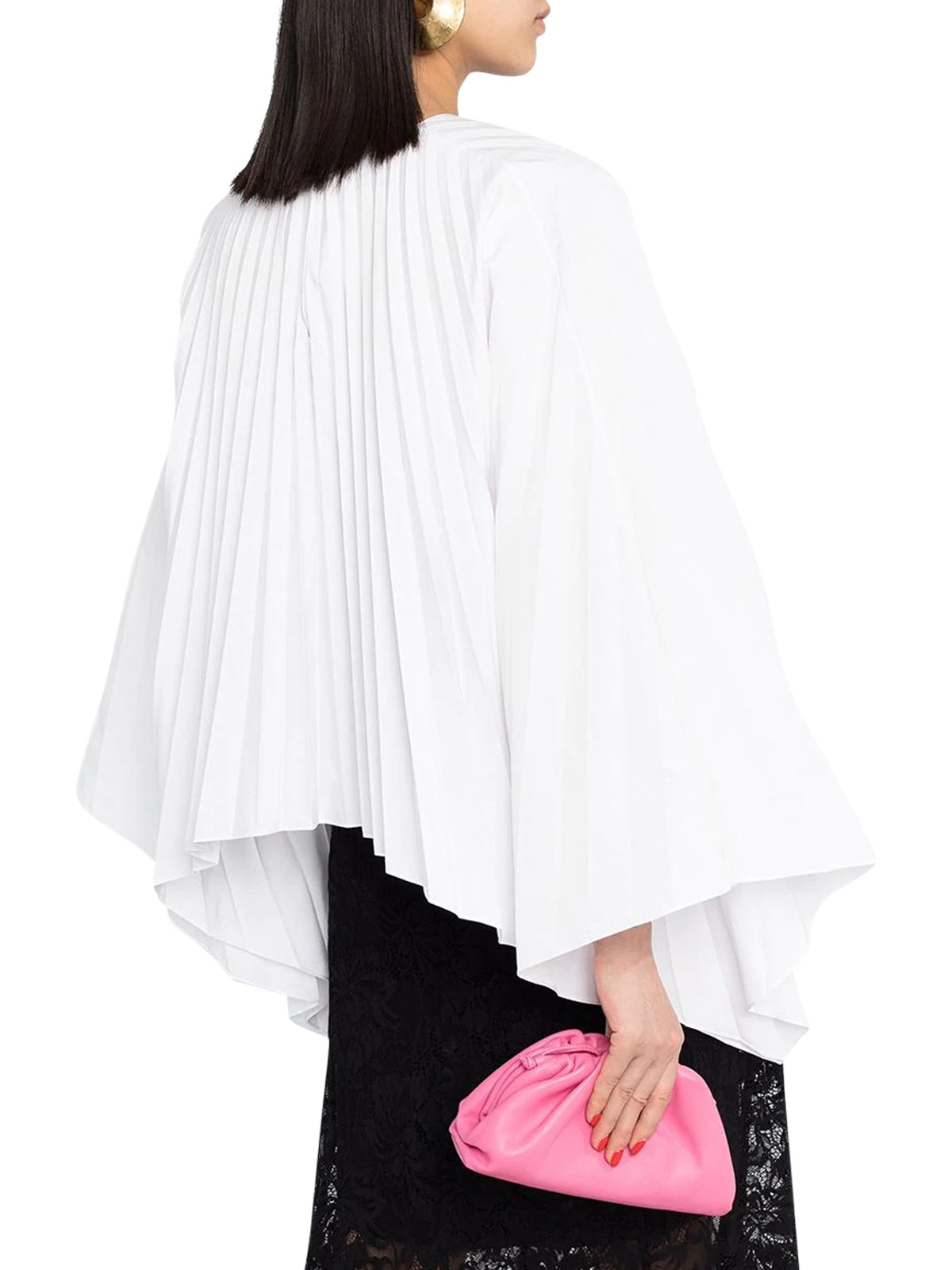 pleated bell-sleeves top