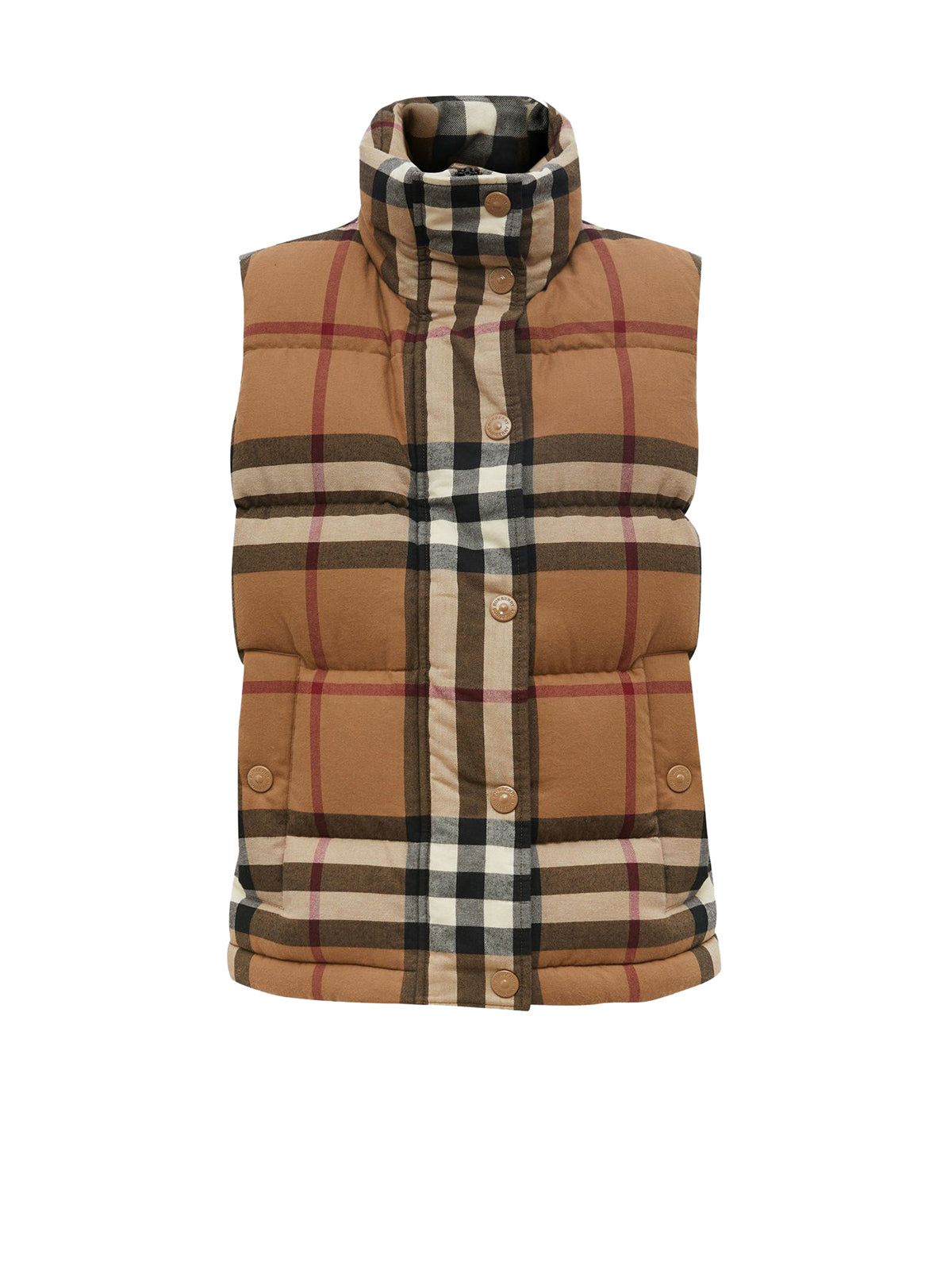 check cotton flannel puffer gilet