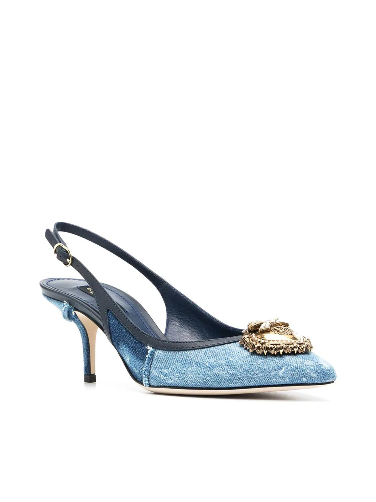Devotion 70mm denim slingback pumps