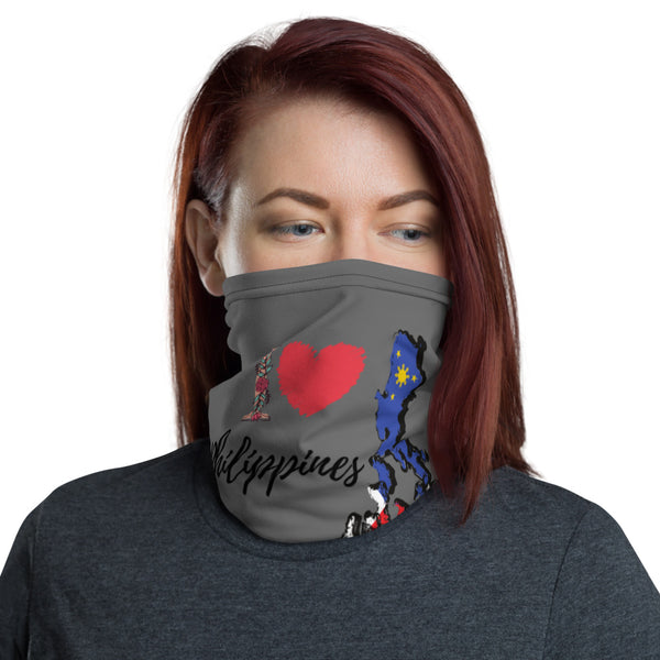 I love philippines/ valentines Neck Gaiter/ Made in USA/ Philippine map face mask/ Philippine neck gaiter/ Pinoy mack/ Pinay face covering