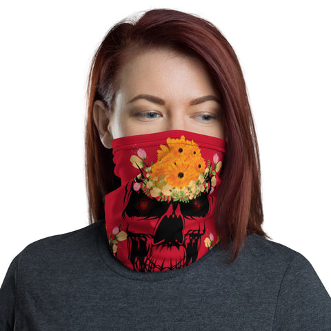Floral skull Neck Gaiter/ Flower with skull neck gaiter/ Wrist wrap/ Face mask covering/ skull neck warmers/ Sunflower face mask