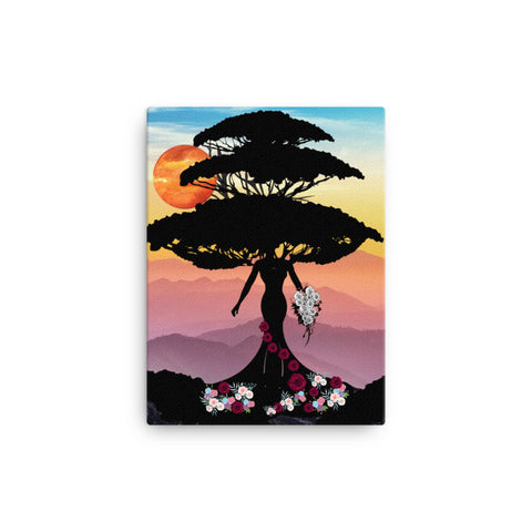 Canvas Tree of life with the rose wedding dress art/ Nature art on Canvas/ living room wall art/ bedroom wall art/ Flower wall art