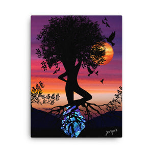 Canvas 12x16 Tree of life Gemstone goddess/ Tree of life wall art on canvas/ Sunset wall art/ women wall art/ women tree of life wall art