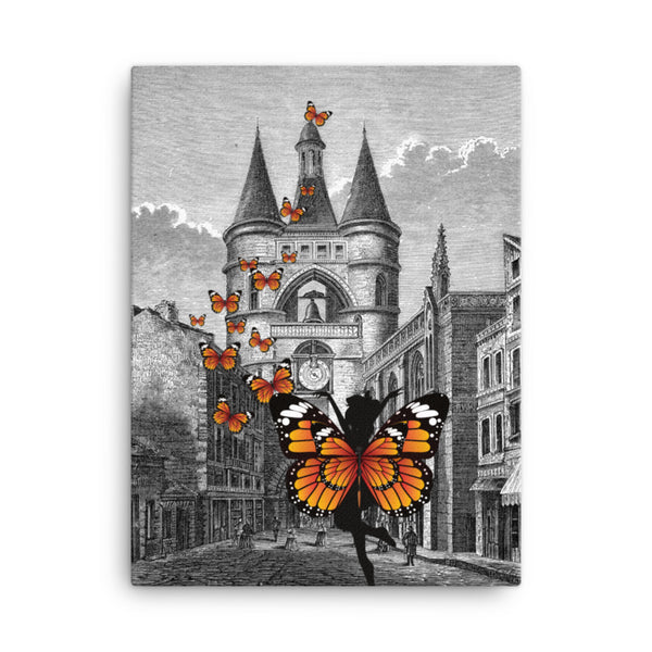 Canvas 12x16  Butterfly outside the Castle / Canvas 18x24 Butterfly Graphic art / Living room art on cavas/ Butterfly wall art canvas