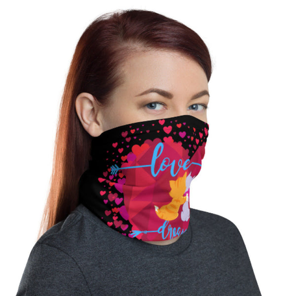 Made in USA Neck Gaiter/ Neck Gaiter for Men Women Cotton Face Mask Cover Bandana Scarf/ Heart neck gaiter/ Heart face mask/ Black face mask