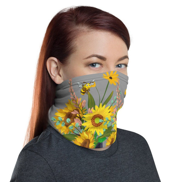 Grateful mask Neck Gaiter/ Bee face covering Spring face covering/ Flower face mask/ Flower face cover/ Breatable face mask/ Washable mask