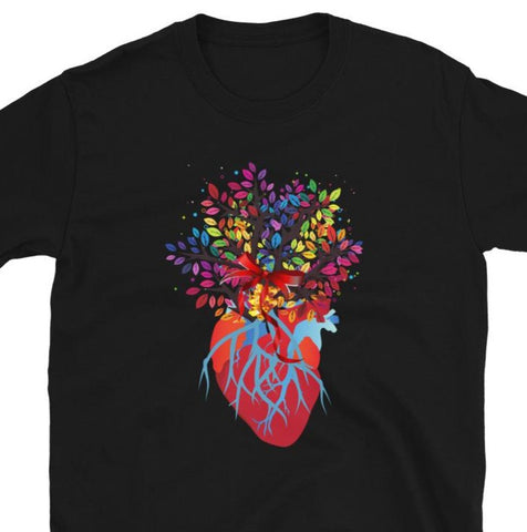 Rainbow bouquet Short-Sleeve Unisex T-Shirt/ Rainbow tree of life t-shirt/ Anatomy rainbow t-shirt/ Heart t-shirt/ Valentines gift tshirt