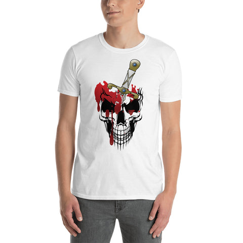 Bloody skull Short-Sleeve Unisex T-Shirt/ Skull tshirt/ Dark heather shirt/ Navy blue t-shirt/ creepy skull tshirt/ xlarge  gray tshirt