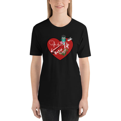Owl nurse life t-shirt Short-Sleeve Unisex T-Shirt/ Small t shirt/ large t-shirt/ Nurse gift t-shirt/ Heart t-shirt/ black heart t-shirt