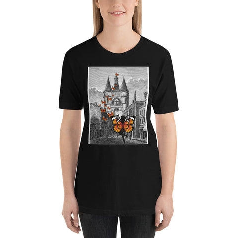 Monarch Butterfly red tshirt/ Short-Sleeve Unisex T-Shirt Butterfly in the Castle t-shirt/  Black castle tshirt/