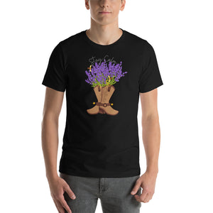 Cowboy boot  bouquet graphic t-shirt/ Stay calm t-shirt/ Valentine gift t-shirt/ womens t-shirt/ Boot tshirt/ stay calm Lavender tshirt/