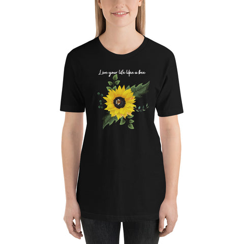 Live your life like a bee tshirt/ Coddle bee in sunflower tshirt/ Cute bee tshirt/ Sunflower with bee tshirt/ 2xlarge  Unique graphic tshirt