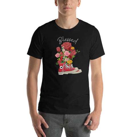 Red Roses bouquet boot tshirt/ Blessed tshirt/ Short-Sleeve Unisex T-Shirt/ Valentine gift tshirt/ unique Gift for her/ Rose flower tshirt