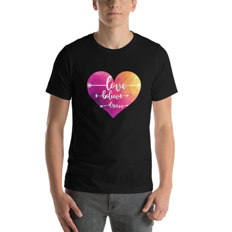 Love believe dream tshirt/ Short-Sleeve Unisex T-Shirt/ white heart tshirt/ red heart tshirt/ valentine tshirt/ valentine gift for her