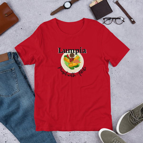 Lumpia Pansit with Adobo/ Short-Sleeve Unisex T-Shirt/ Lumpia t-shirt/ Pihilippine clothing/ Pansit t-shirt/ Pinoy funny t-shirt