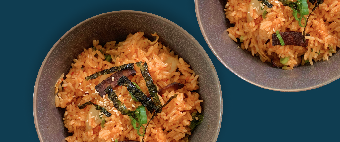 Plant-Based Bacon Kimchi Fried Rice