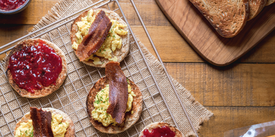 Plant-Based Black Pepper Bacon Egg Benedicts