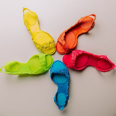Sunies Sandal Rainbow, shows the variety of our concious Sunies shoes