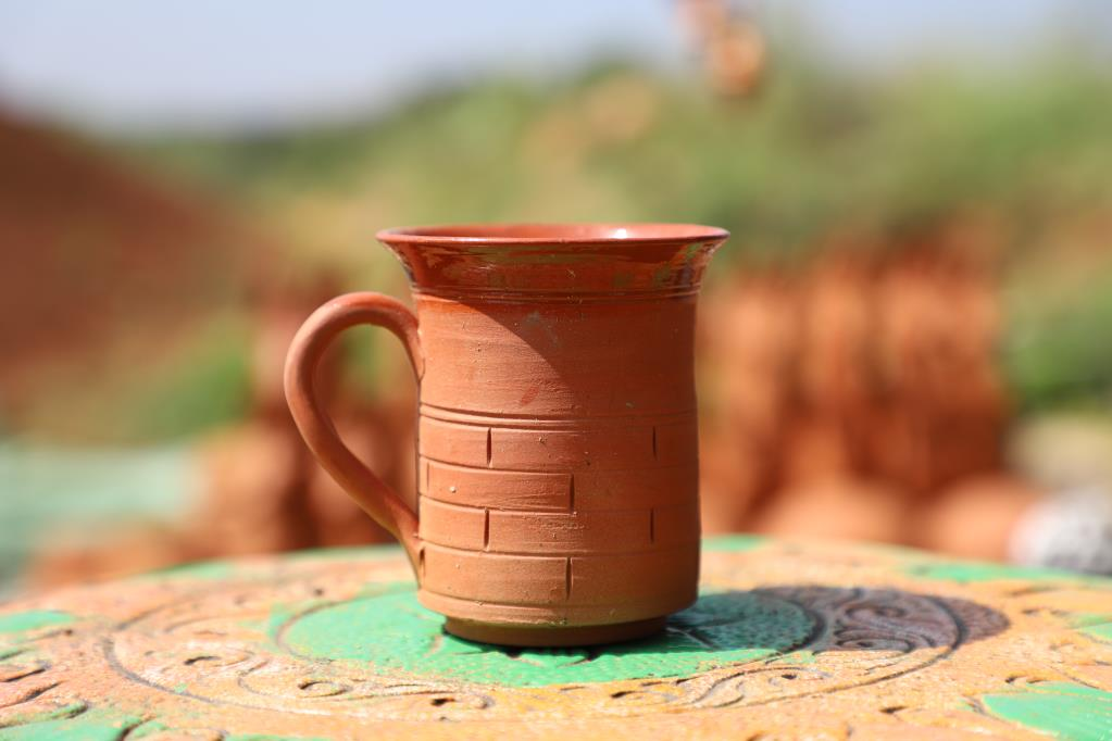 CLAY HANDMADE  COFFEE OR MILK MUG 4 NO. - 200 ml EACH INSIDE CERAMIC GLAZE