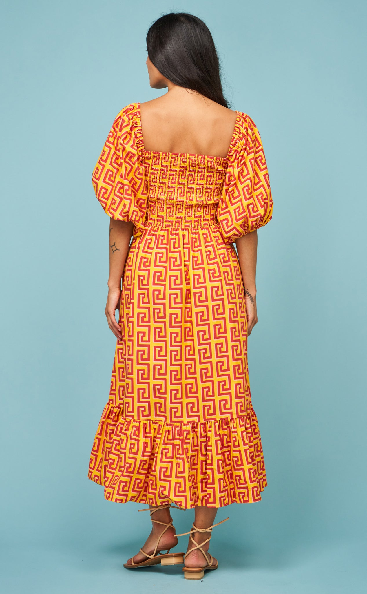 Eloise Dress in Golden Squiggle
