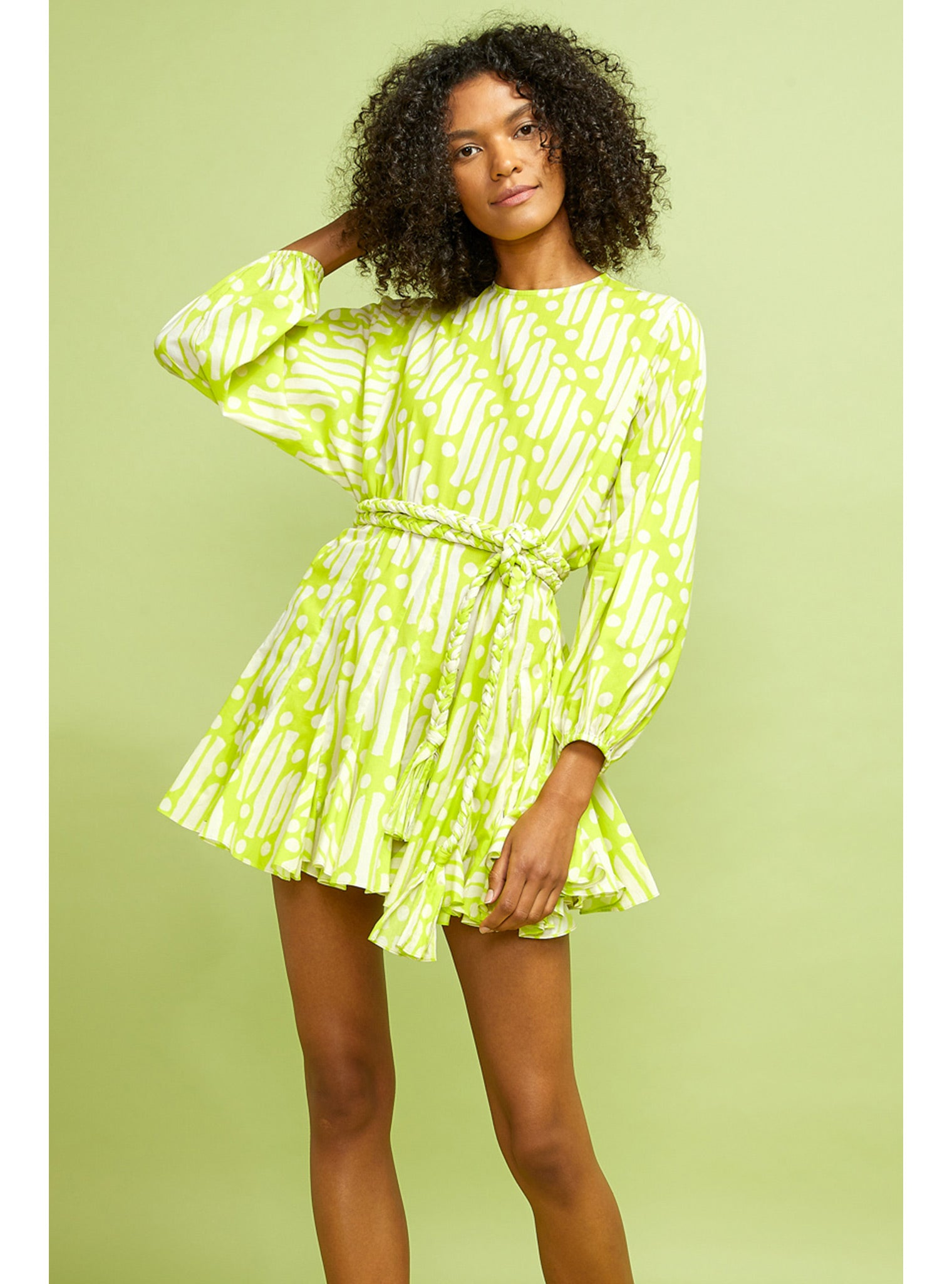 Ella Dress | Chartreuse Batik